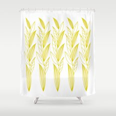 Growing Leaves: Golden Yellow – White background Shower Curtain