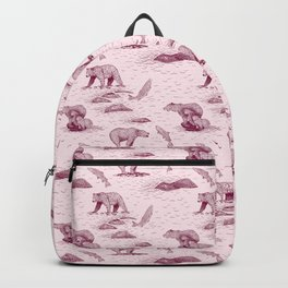 Grizzly Bears Fishing for Salmon (Pink and Plum) Backpack