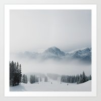 ski Art Prints featuring Ski Hill by Dan Grady