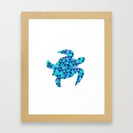 Mosaic Turquoise Sea Turtle Framed Art Print