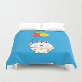 Fat Cat with Balloons Duvet Cover