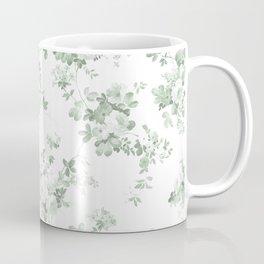 Elegant vintage green white roses shabby floral Coffee Mug