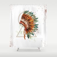 ethnic Shower Curtains featuring ethnic by limonlukusburnu