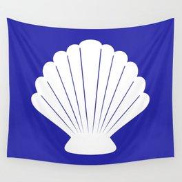 Seashell (White & Navy Blue) Wall Tapestry