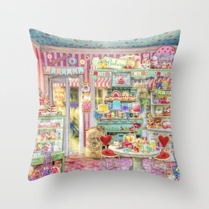 The Little Cake Shop Throw Pillow