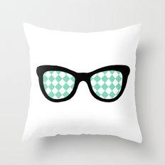 Mint Diamond Eyes Throw Pillow