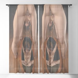 4913-AK Slim Woman Standing Over Oval Mirror with No Clothes On Sheer Curtain