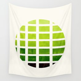 Watercolor Sap Green Minimalist Mid Century Modern Square Matrix Geometric Pattern Round CircleFrame Wall Tapestry