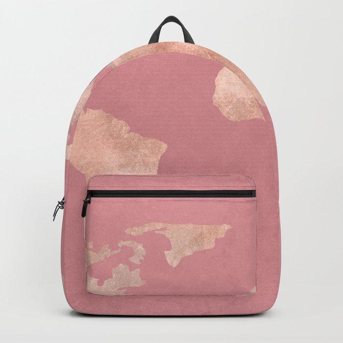 Rosegold World Map Sans Type Backpack