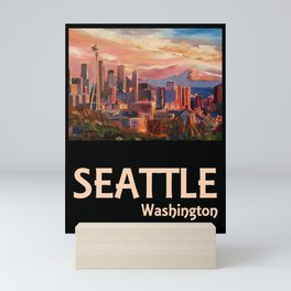 Retro Travel Poster Seattle Washington Mini Art Print
