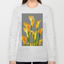 DECORATIVE GOLDEN CALLA LILY FLOWERS ON GREY ART Long Sleeve T-shirt