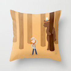 Bear and girl: playing Throw Pillow