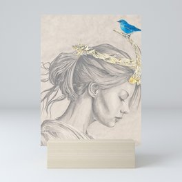 Glimmering gold crown Mini Art Print