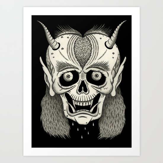 Grinning Skull with Horns Art Print