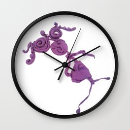 Purple Human Girl Wall Clock