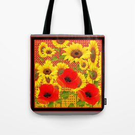RED POPPIES YELLOW SUNFLOWERS  GREY PATTERN ART Tote Bag