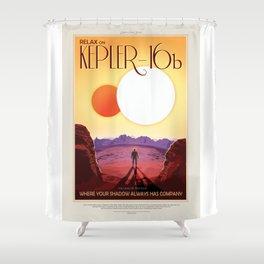 Kepler-16b - NASA Space Travel Poster Shower Curtain
