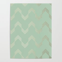 Simply Deconstructed Chevron in White Gold Sands and Pastel Cactus Green Poster