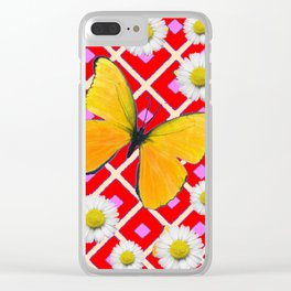 Red Color Shasta Daisys & yellow butterfly Pattern Garden Art Clear iPhone Case