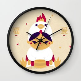 Red Rooster and Dumplings Wall Clock