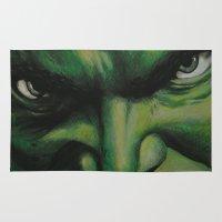hulk Area & Throw Rugs featuring Hulk by lyneth Morgan