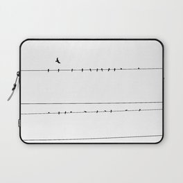 The Birds on the Line (Black and White) Laptop Sleeve