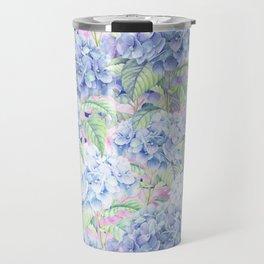 Botanical pink lavender watercolor hortensia floral Travel Mug