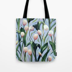 Waiting on the Blooming - a Tulip Pattern Tote Bag