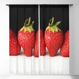 Strawberries On Black Over White Blackout Curtain