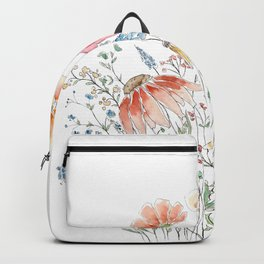 wild flower bouquet and blue bird- ink and watercolor 2 Backpack