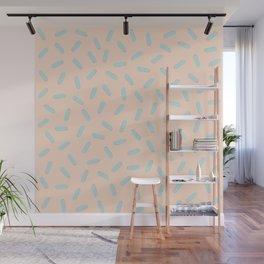 Memphis Bacteria Pattern Pastel Colors Peach Baby Blue Wall Mural