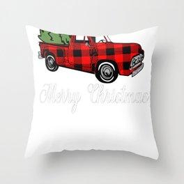 New Christmas Merry Christmas Buffalo Plaid Pickup Truck Throw Pillow