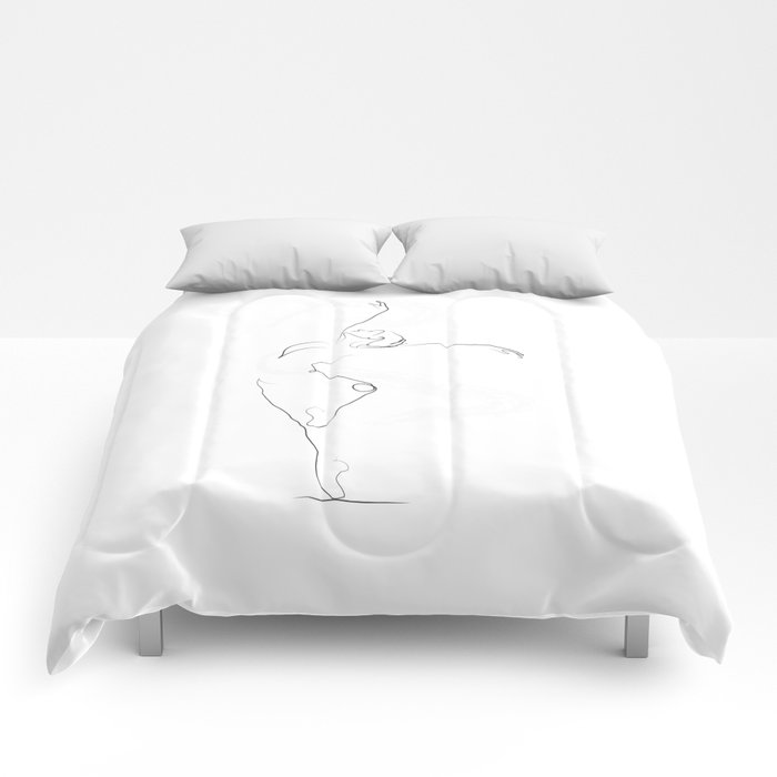 'Unfurl', Dancer Line Drawing Comforters