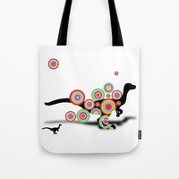 dinosaurs Tote Bags featuring DINOSAURS by mark ashkenazi