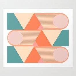 Retro Geometric Beach Vibes Art Print