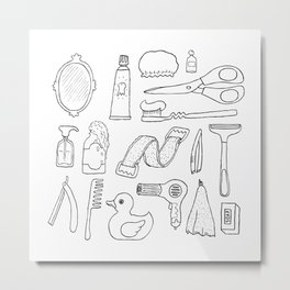 Bathroom. Cosmetics objects Metal Print