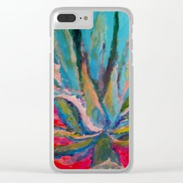 TROPICAL TURQUOISE BLUE AGAVE CACTI FUCHSIA  PATTERN Clear iPhone Case