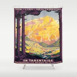 Vintage poster - En Tarentaise, France Shower Curtain