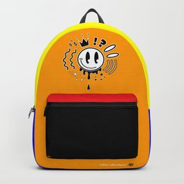 Golden Retro Smiley: Comic Style Backpack