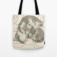 cats Tote Bags featuring cats by Laura Graves