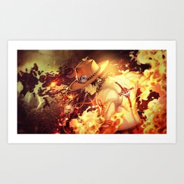 Portgas D Ace One Piece Art Print
