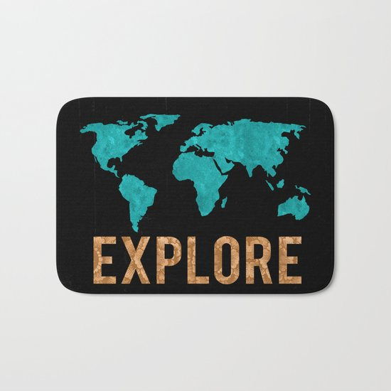 World Map - Teal and Copper Explore Globe Bath Mat