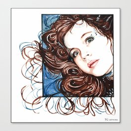 Girl in Watercolours Canvas Print