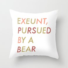 Shakespeare - The Winter's Tale - Exeunt Exit Pursued by a Bear Throw Pillow