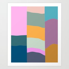 Abstract Geometric Shapes in Fun, Bright and Bold Colors Art Print