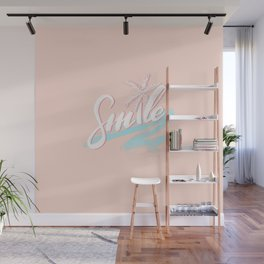 'SMILE' tropical calligraphy on peach pink Wall Mural