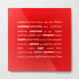 Fun With Colour & Words - Red Metal Print