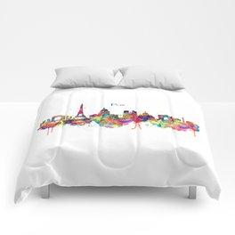 Paris Skyline Silhouette Comforters
