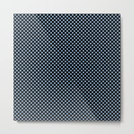 Black and Dusk Blue Polka Dots Metal Print