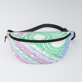 Pink Green Blue poly geometric doodle circles patterns Fanny Pack